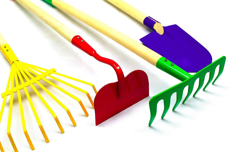 Kids garden tools set rake spade hoe and leaf rake wooden for Gardening tools for kids