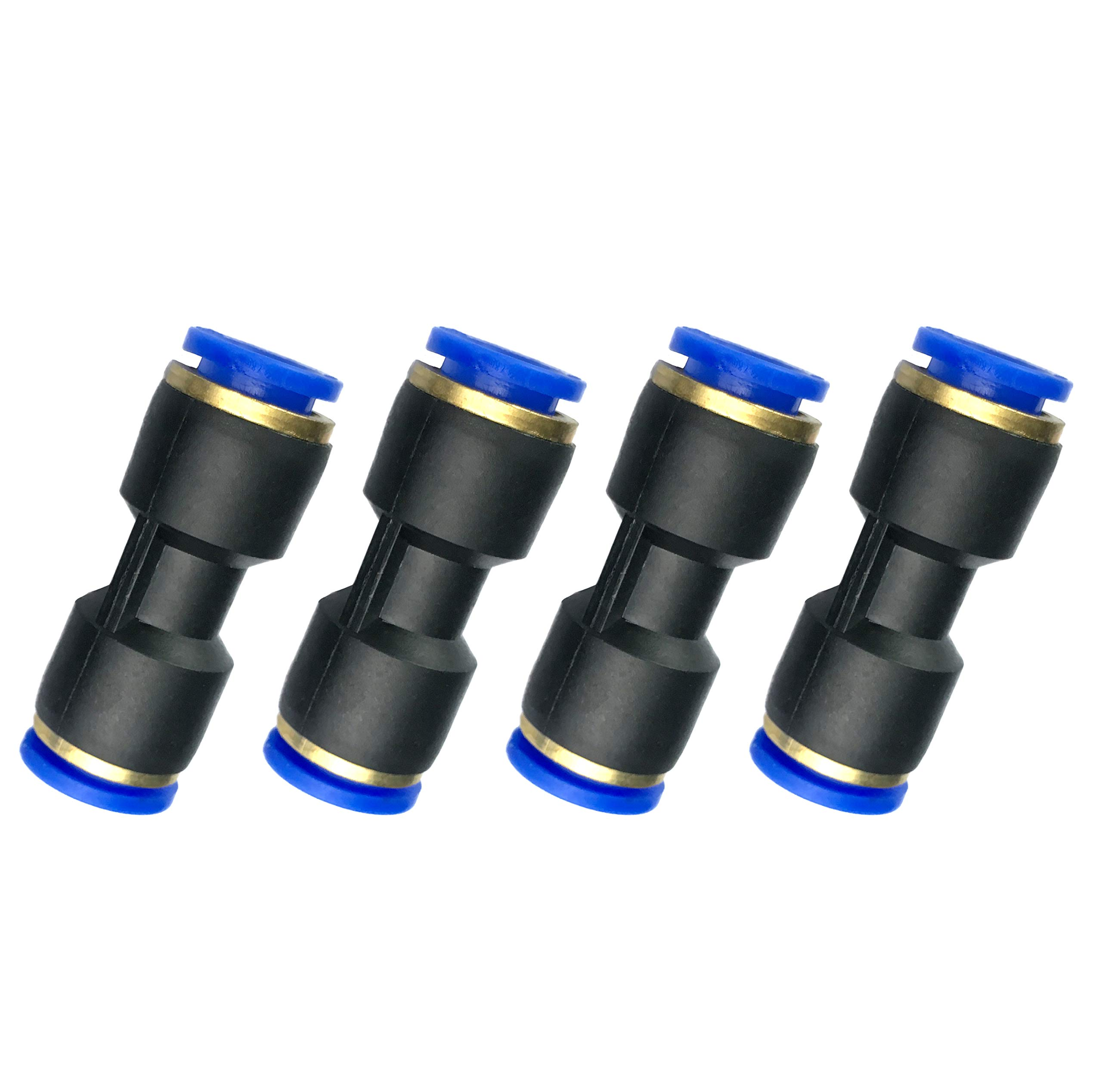 Fuel Line Connector for 12mm OD Pneumatic Nylon Tubing Hose Union Quick Connect, Fit 0.47'' OD Nylon Tube Pack of 4