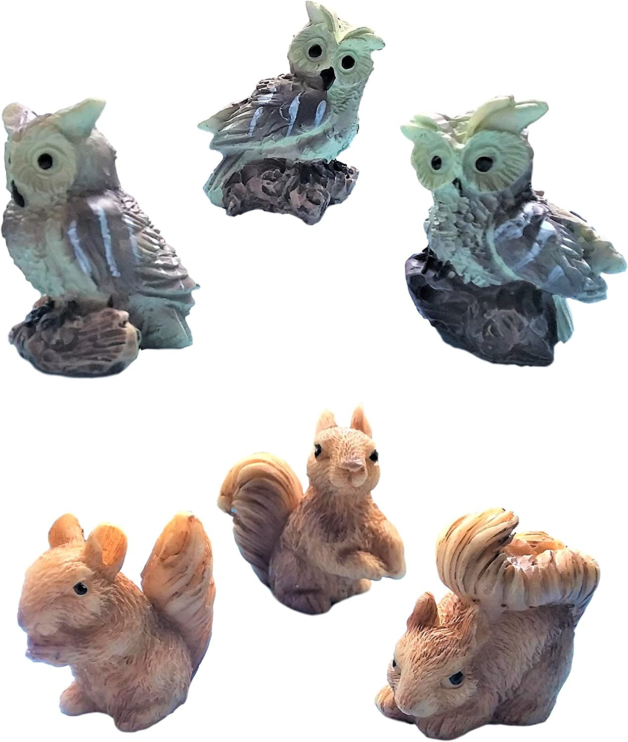 "Miniature Fairy Garden Realistic Tiny 1.25"" Owls and 1.2"" x 1"" x 0.70"" Squirrels - Made of Resin - for Outdoor or House Decor - Bundle of 6 Mini Garden Animals - Farm Woodland Creatures"