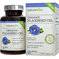 NatureWise Organic Flaxseed Oil with Omega-3's for Healthy Skin, Nails & Hair, Promotes Cardiovascular Health & Immune Support, Non-GMO, Gluten-Free, 1000 mg, 100 count