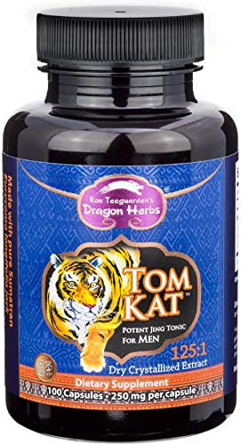 Dragon Herbs TomKat – 250 Mg – 100 Vegetarian Capsules – 100 Natural Certified Tongkat Ali Root, Longjack Premium Grade, 125 1 Pure Extract, Vegan, Non-GMO, Gluten Free, Natural Herbal Testosterone