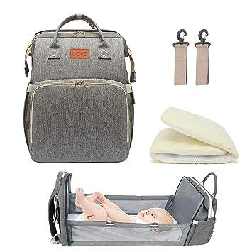 Amazon Com Cuna De Viaje 3 En 1 Plegable Para Bebe Y Bebe Cambiador De Mochila Para Panales Saco De Dormir De Viaje Para Bebe Con Cuna Integrada Baby