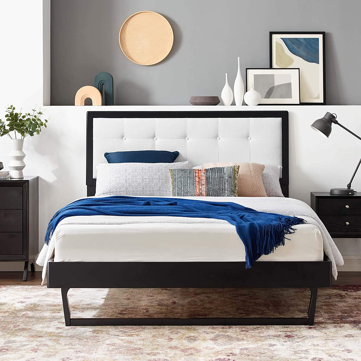 Modway Willow Wood King Platform Bed in Black White with Angular Frame