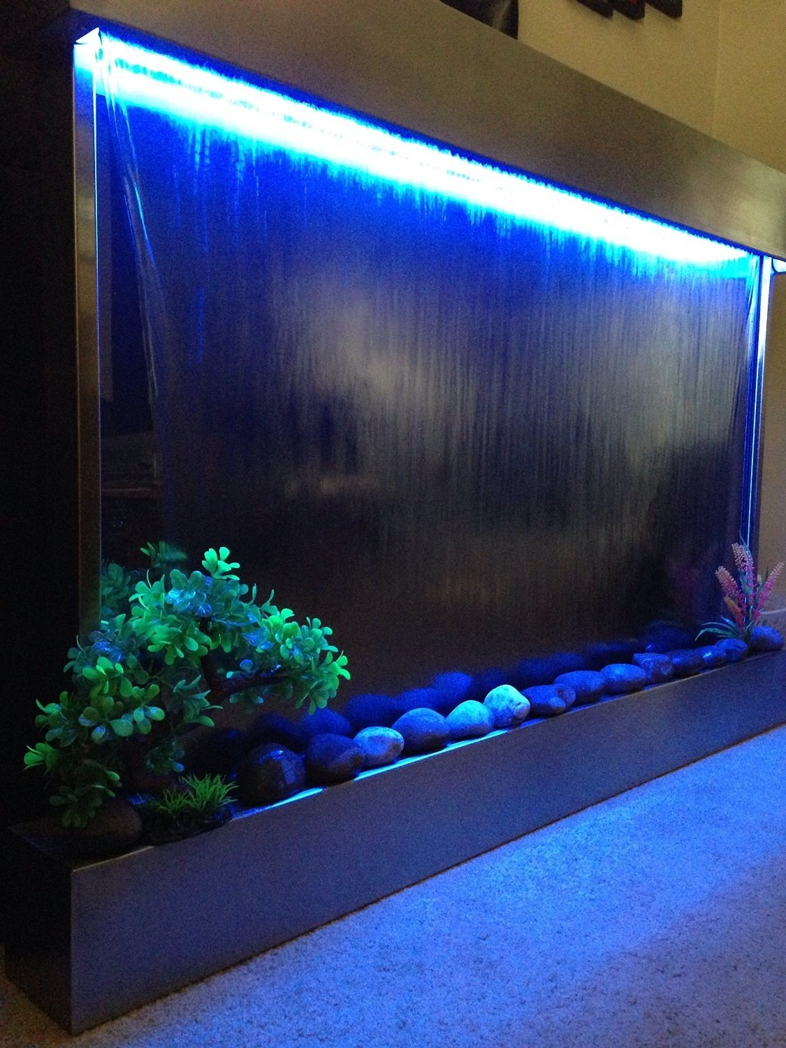 Waterfall XXL 52''x35'' Wall Fountain , Stainless Steel ,Mirror Glass , Color Lights , Remote Ctrl