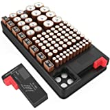 Battery organizer storage case with battery tester for AAA AA C D 9V and Button Batteries Storage box Holds 110 Batteries Various Sizes with Removable Digital Battery Tester