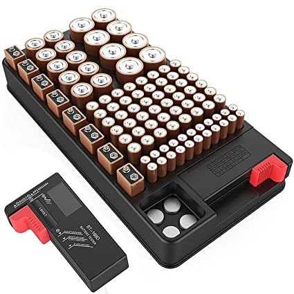new product 6bc47 28989 Battery organizer storage case with battery tester for AAA AA CD 9V and  Button Batteries Storage box Holds 110 Batteries Various Sizes with  Removable ...
