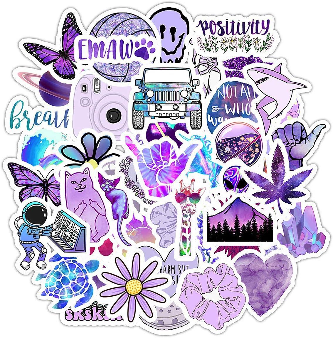 Cute VSCO Stickers for Hydroflasks Water Bottle Laptop Stickers Waterproof Vinly Stickers for Teen Girls 50 Pcs (Purple)