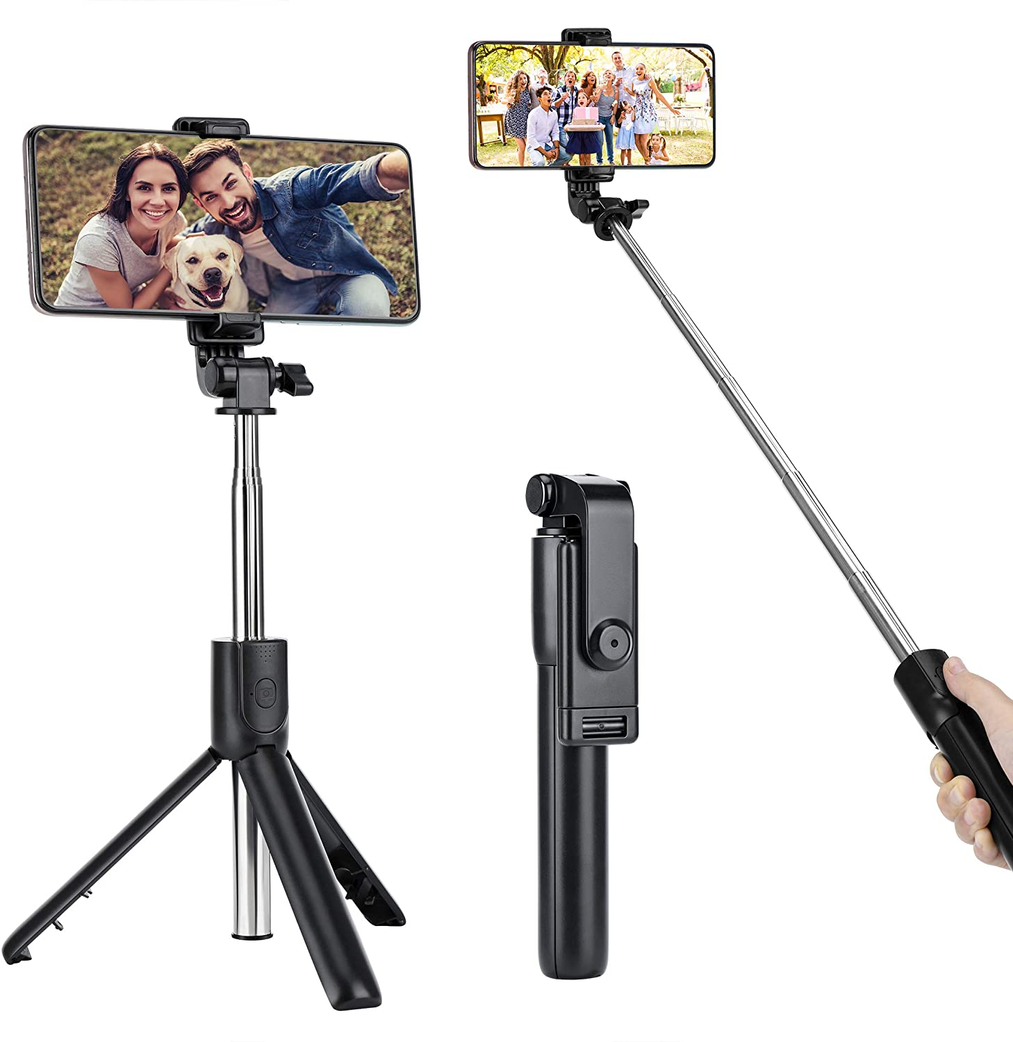 All in One Extendable Tripod Stand with Bluetooth Remote 360/° Rotation for iPhone 12 11 Pro Max XS X XR 8 Plus Android Smartphones ATUMTEK 51 Selfie Stick Tripod Samsung S10 S10+ S9 S8