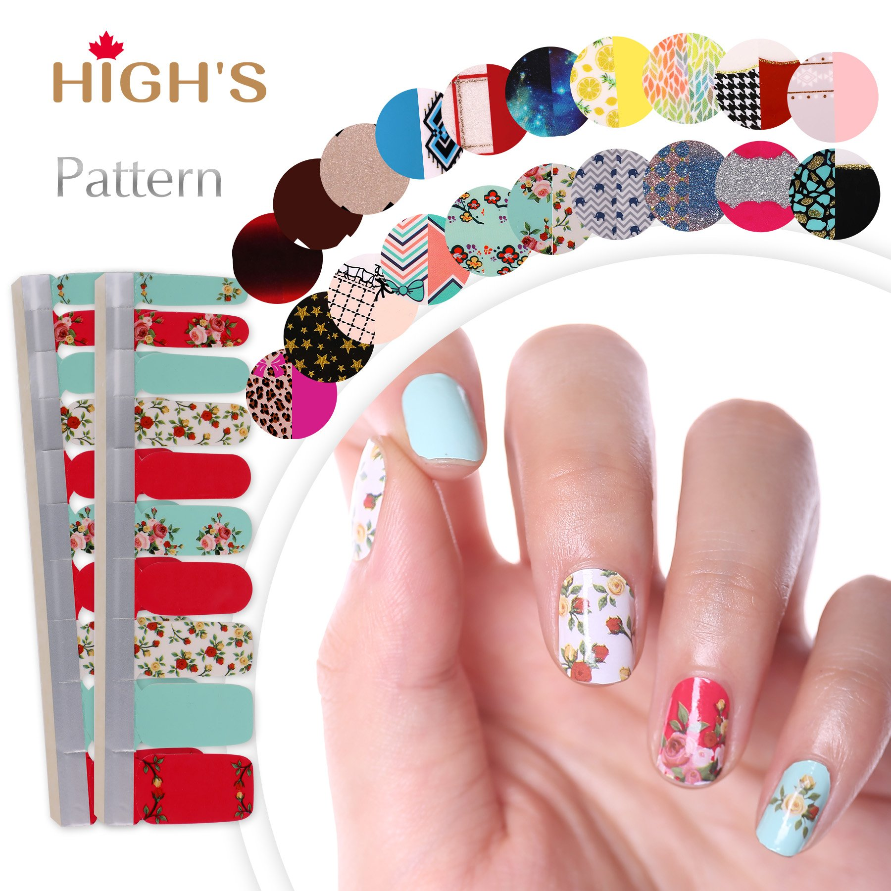 Amazon highs extre adhesion 20pcs nail art transfer decals highs extre adhesion 20pcs nail art transfer decals sticker pattern series the cocktail collection manicure diy prinsesfo Gallery