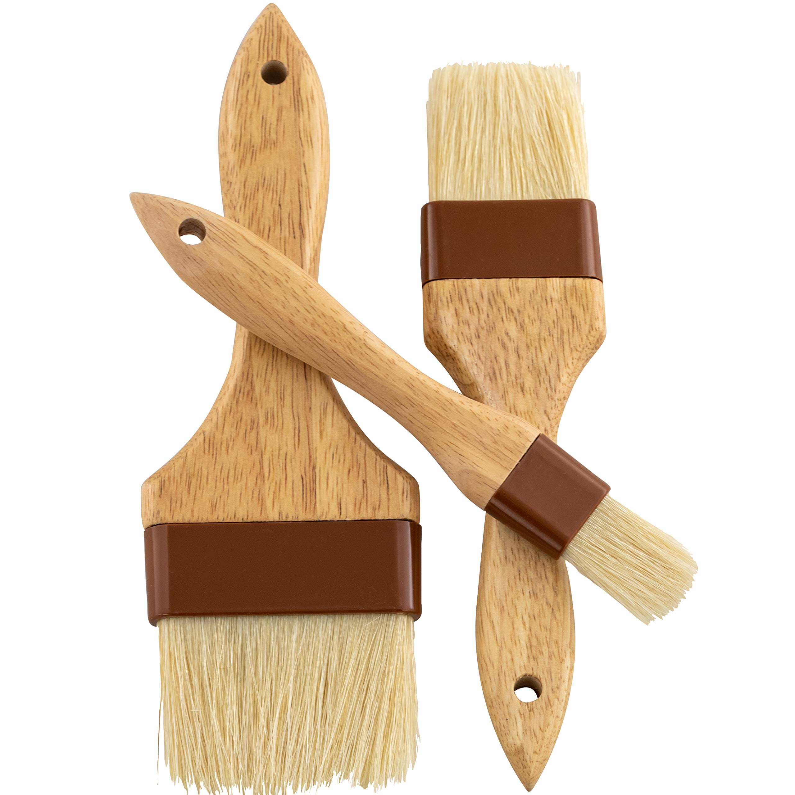 Restaurant-Grade Boar Hair Pastry and Basting Brush Set of 3 (1, 2 and 3 Inch). Ultra-Fine Hardwood Flat Brushes for Spreading Butter, Egg Wash or Marinade to Pastries, Dessert, Bread Dough or Meat by Avant Grub