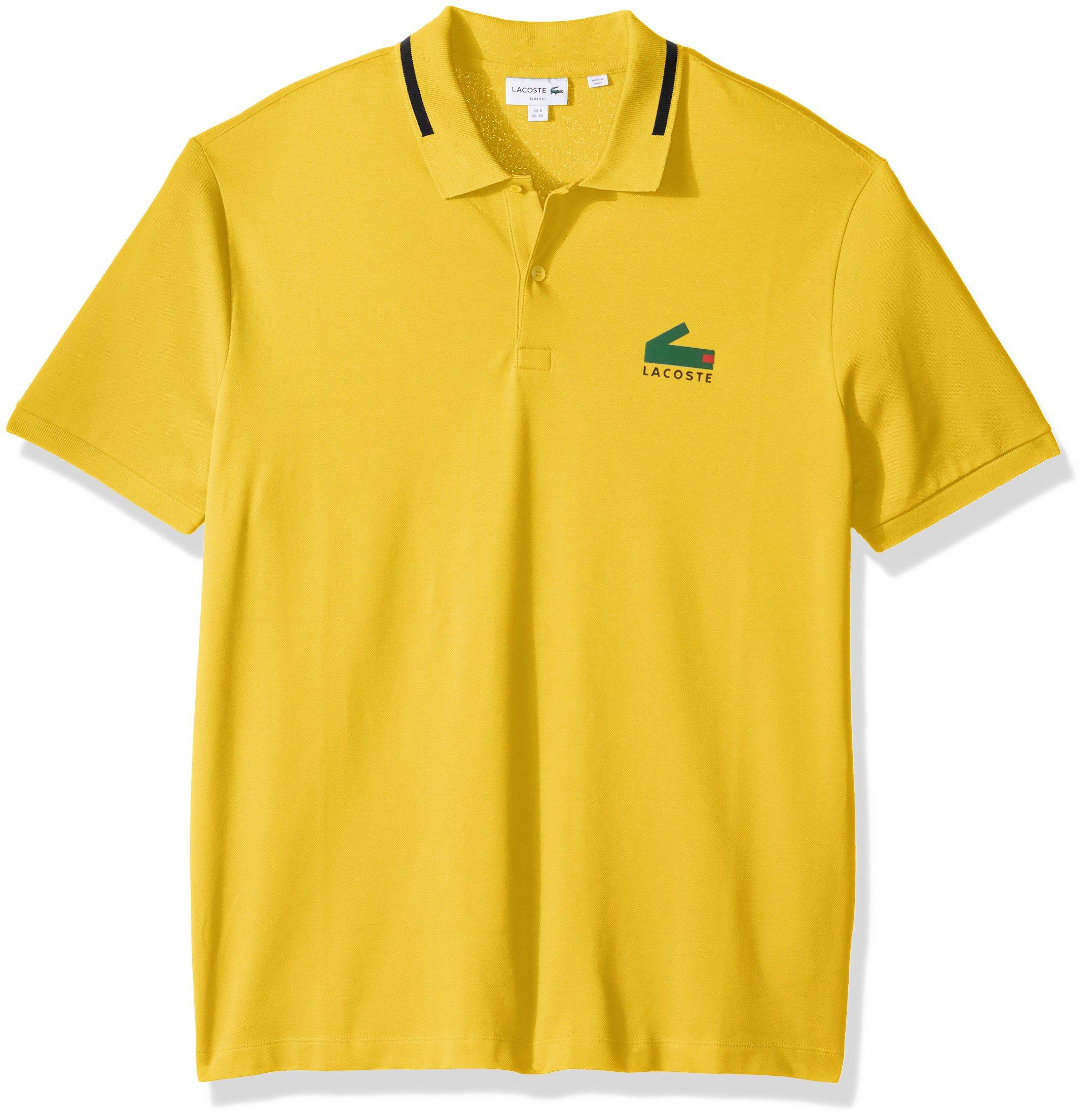 Lacoste Men's Short Sleeve Graphic Pique Polo With Printed Croc Logo, Calcutta Yellow/Black, 9