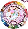 KING DO WAY 刺繍セット プラスチック製刺繍枠5本 刺繍糸50束 刺繍針30本 刺繍用布 18x12インチ 14カウント (77pcsプラスチック)