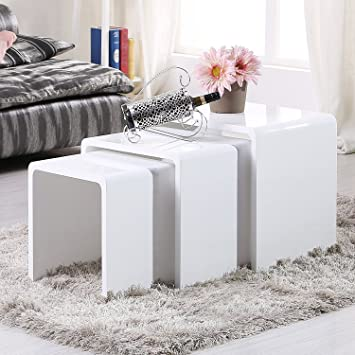 UEnjoy Nest of Tables White Gloss Coffee Table Side Table Living ...