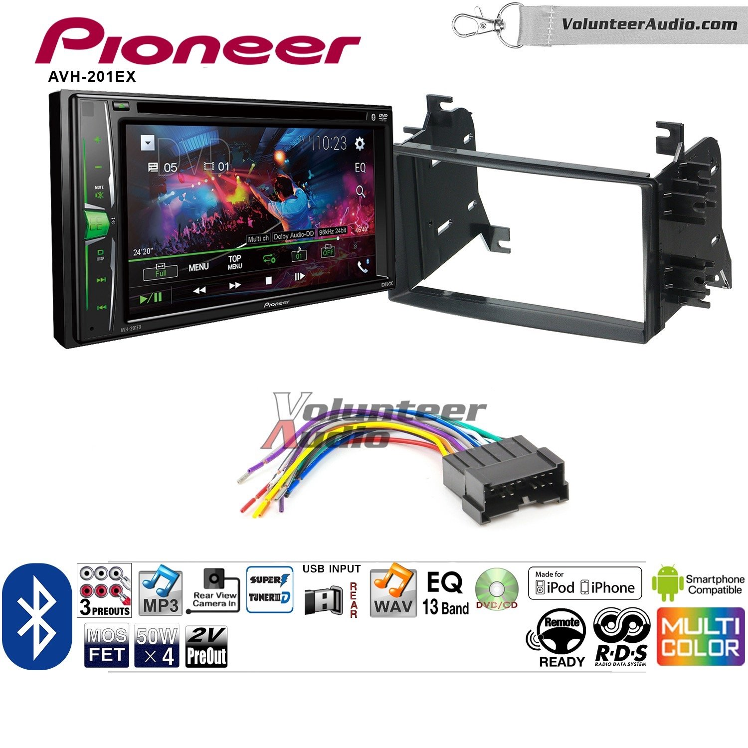 Volunteer Audio Pioneer AVH-201EX Double Din Radio Install Kit with CD Player Bluetooth USB/AUX Fits 2004-2006 Kia Spectra. 2005-2008 Kia Spectra5