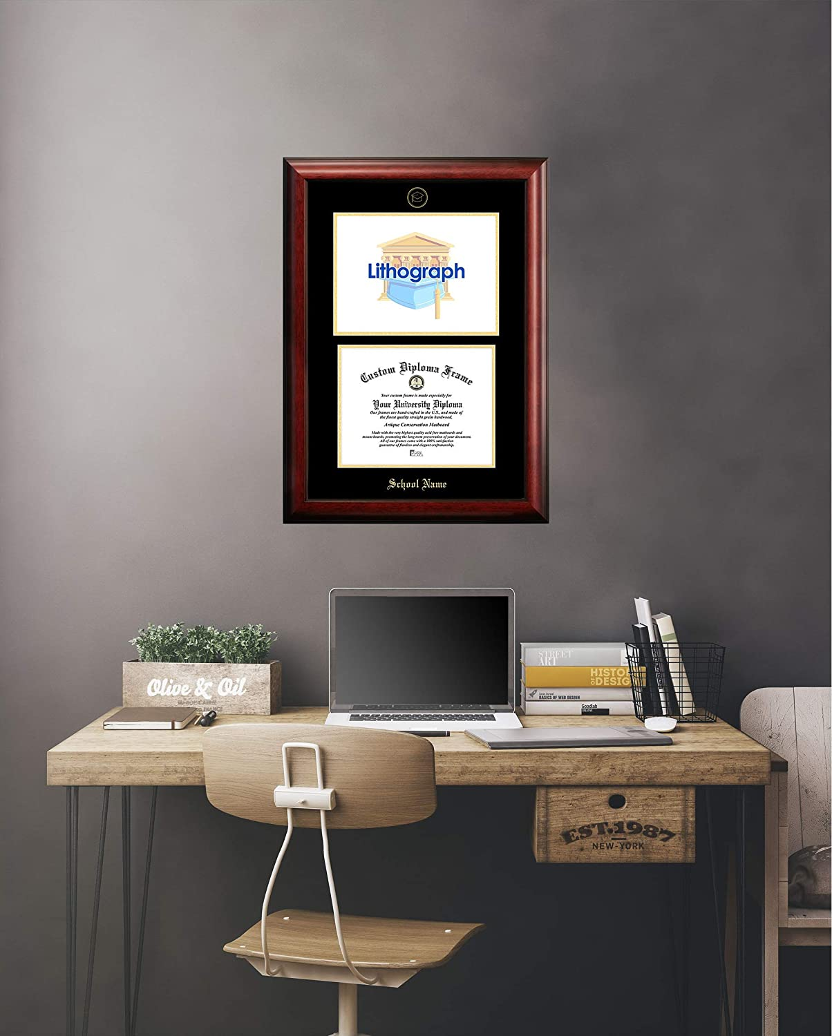 Gold 14 x 17 14 x 17 Campus Images DC996LGED Georgetown University Embossed Diploma Frame with Lithograph Print