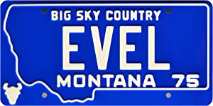 Celebrity Machines Evel Knievel | EVEL | Metal Stamped License Plate
