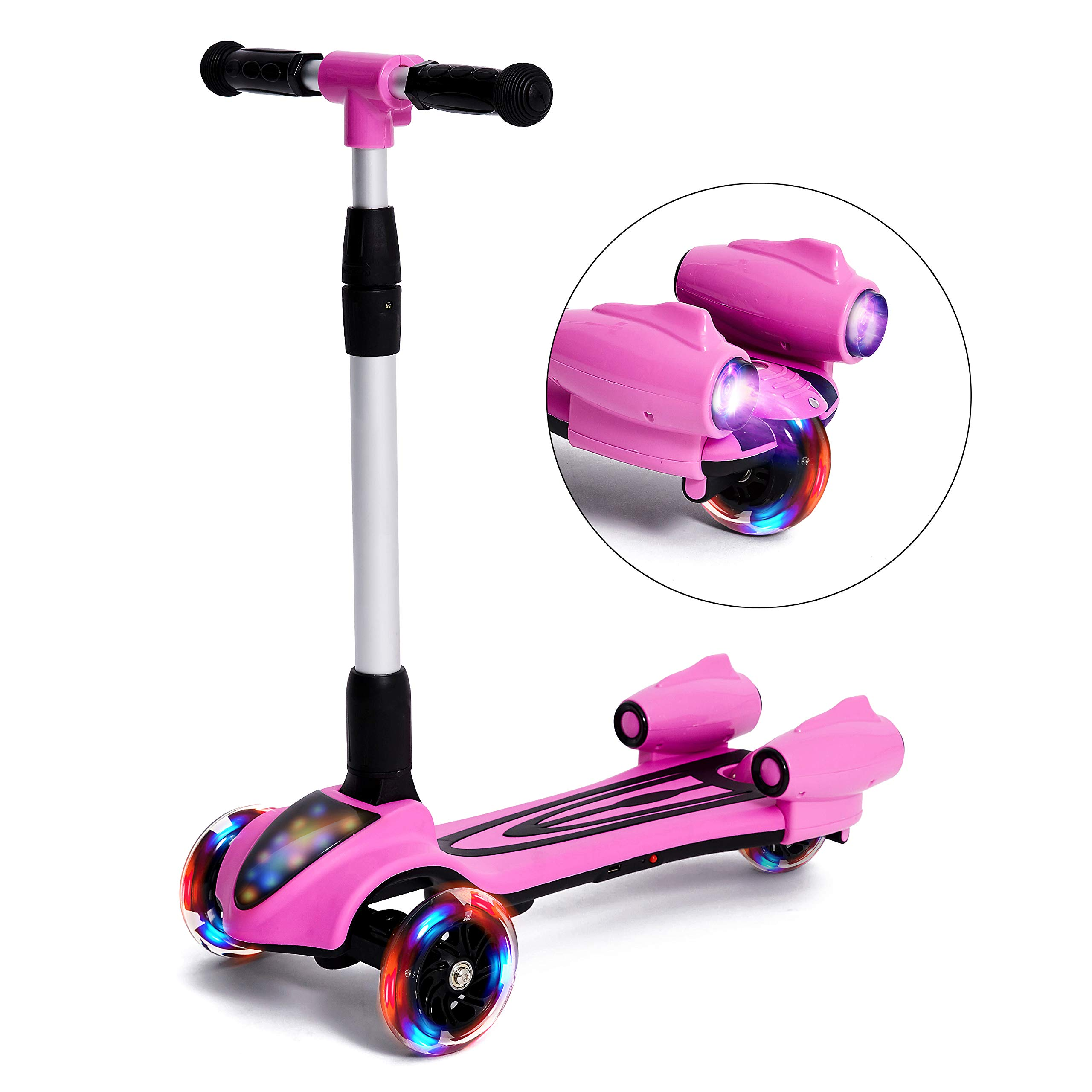 MammyGol Scooters for Kids 3 Wheel Kick Scooter,Folding LED Spray Jet Scooter with Adjustable Height,Flashing PU Wheels and Lean to Steer,Best Gifts for Children Age 3-8 Years Old Pink by MammyGol