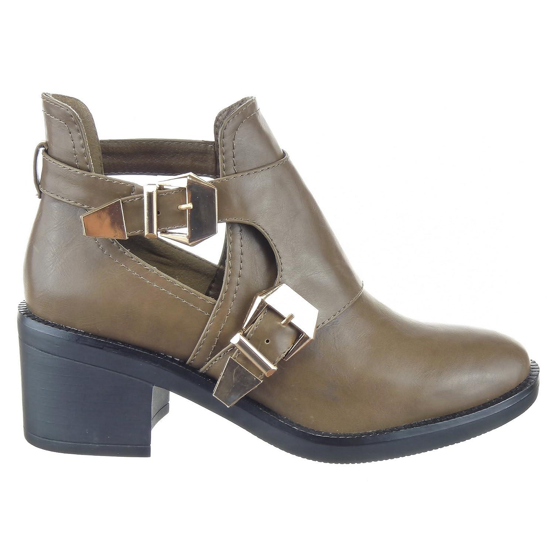 Sopily - Zapatillas de Moda Botines Low Boots Altas A medio muslo mujer Hebilla Talón Tacón ancho 6.5 CM - Taupe CAT-AS1403 T 41 - UK 8: Amazon.es: Zapatos ...
