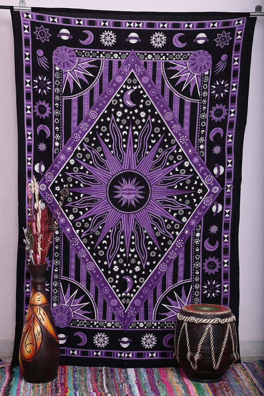 Amazoncom Madhu International Purple Burning Sun Tapestry