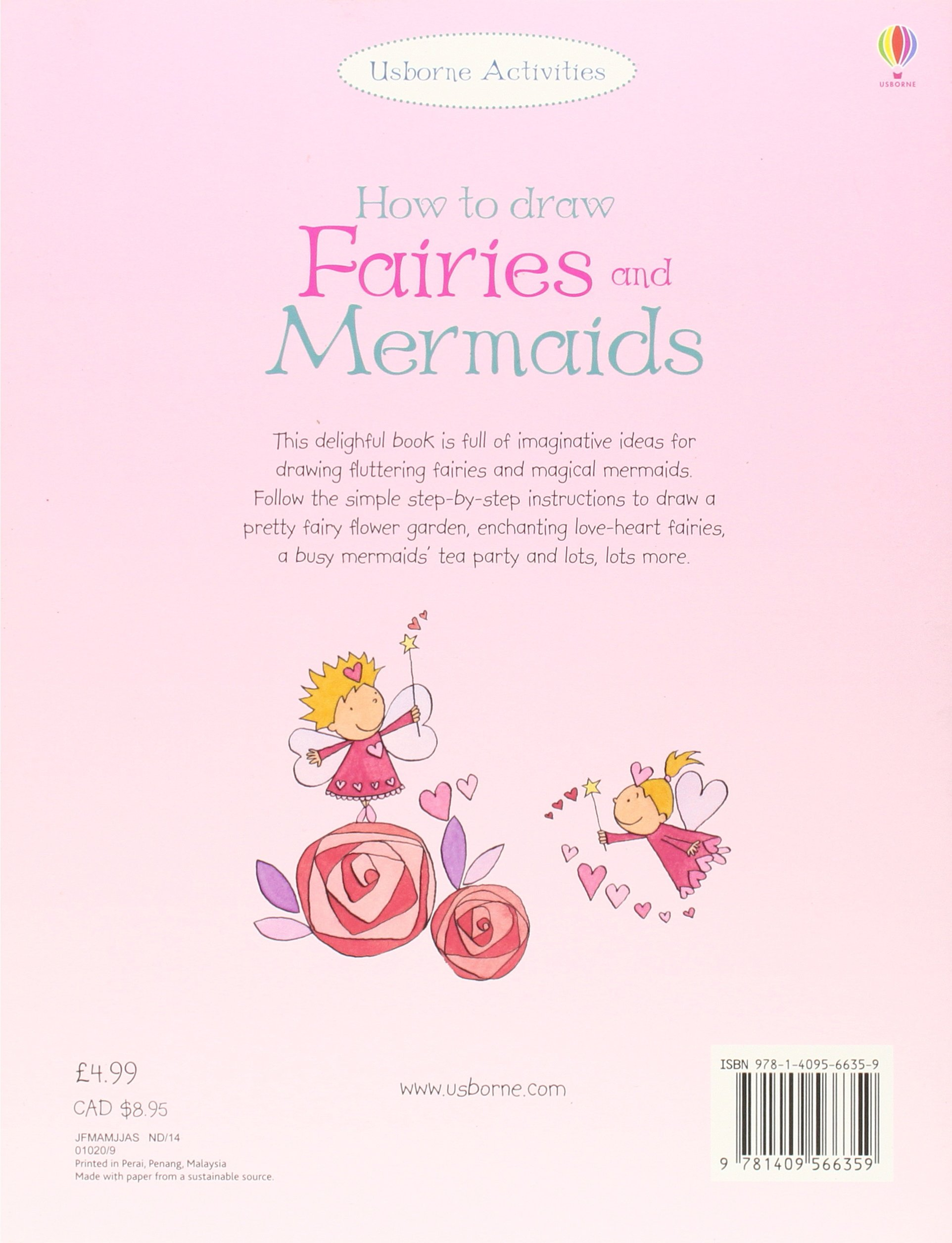 how to draw fairies and mermaids usborne how to draw amazon co