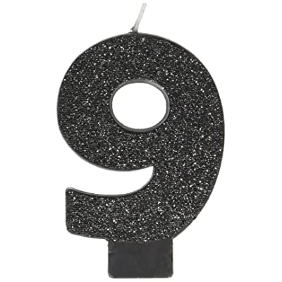 """amscan Birthday Celebration, Numeral #9 Glitter Candle, Party Supplies, Black, 3 1/4"""": Kitchen & Dining"""