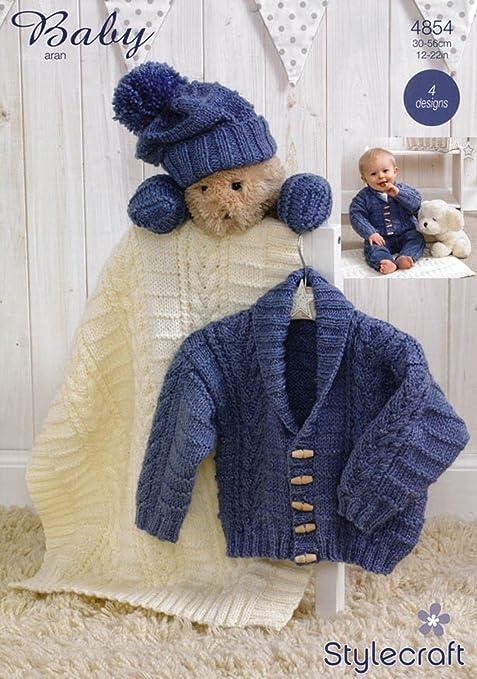 Stylecraft Special Baby Aran Jacket Scarf Hat Mittens Blanket