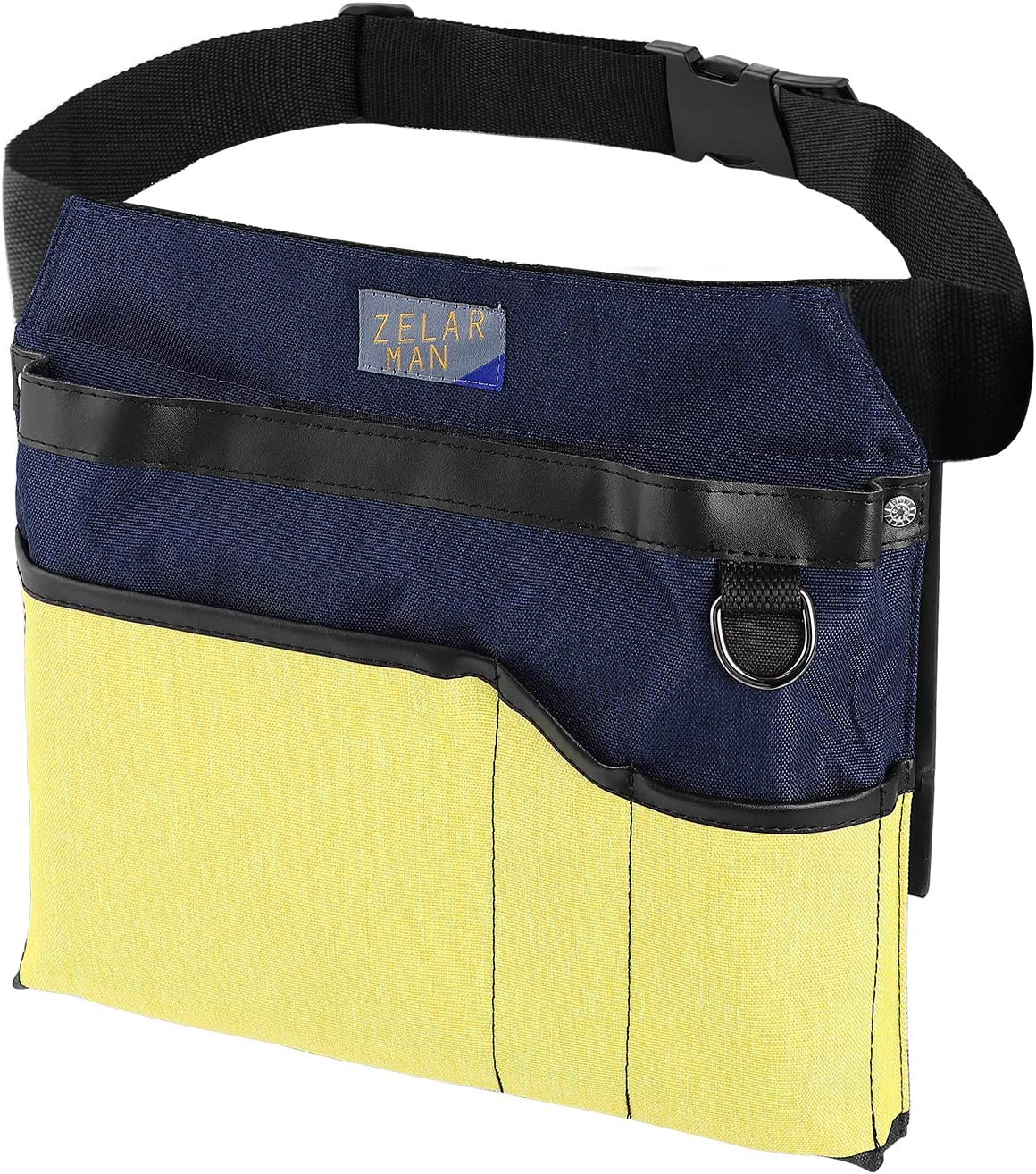 Gardening Tool Belt/Apron, 4-Pocket Utility Tool Waist Pouch Belt, Unisex Garden Waist Bag with padding&Adjustable Belt(Blue&Yellow)