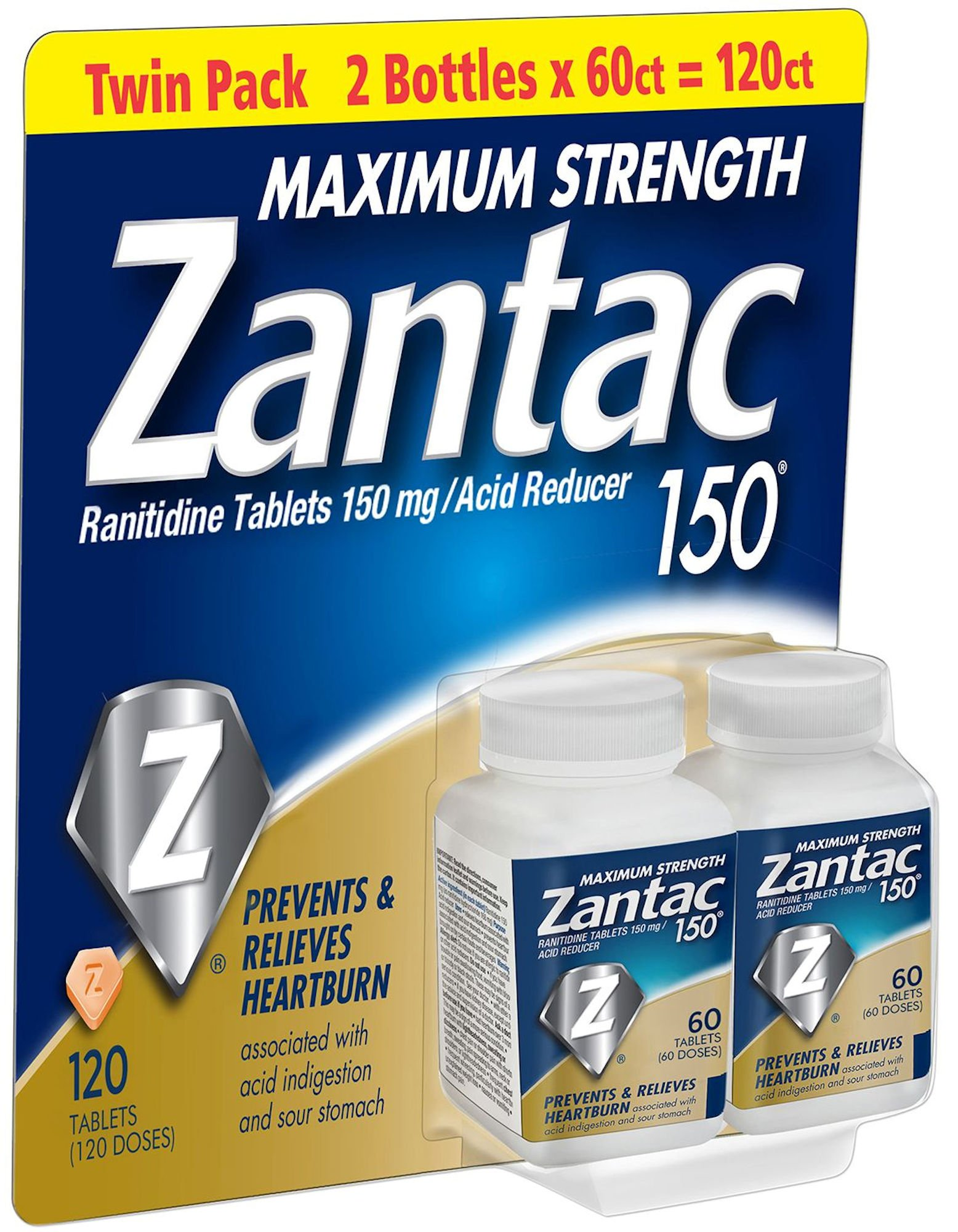 Zantac 150 Maximum Strength Tablets, Regular, 120 Count