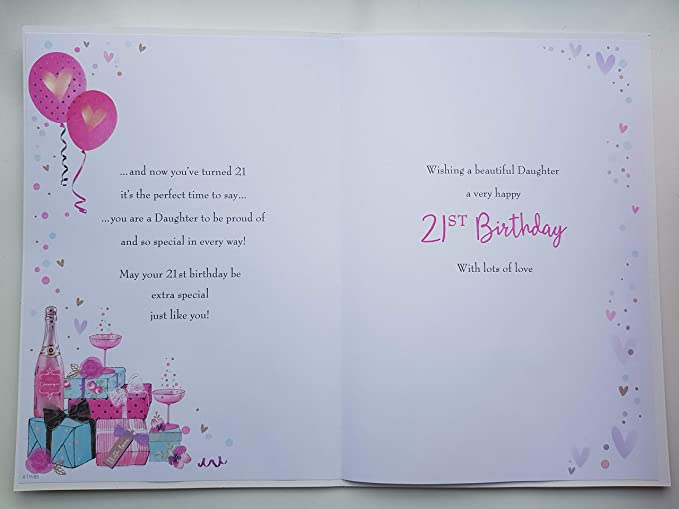 Large Daughter 21st Birthday Card Quality Nice Verse Champagne Amazoncouk Kitchen Home