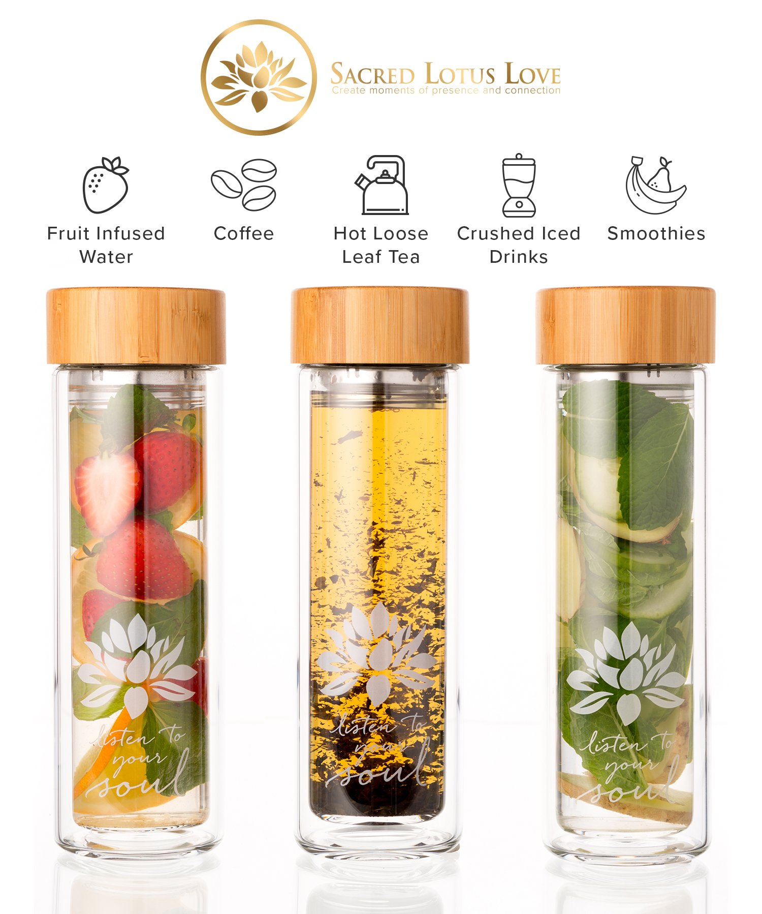 The Lotus Glass Tea Tumbler with Infuser + Strainer for Loose Leaf Tea, Coffee and Fruit Water. Inc Travel Sleeve. 15oz Bottle with Bamboo Lid. Perfect Gift. Soulful Design. Beautifully Packaged. by Sacred Lotus Love (Image #1)