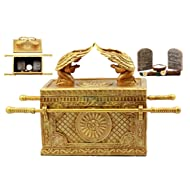 """Ebros Matte Gold Ark of The Covenant with Ten Commandments Rod of Aaron and Manna Religious Decorative Figurine Trinket Jewelry Box 9.5"""" Long Collectible Model Replica Historical Divinity Israel"""