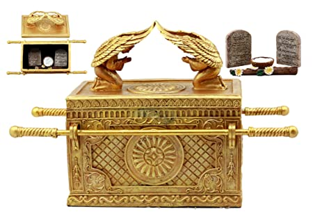 Ebros Matte Gold Ark of The Covenant with Ten Commandments Rod of Aaron and Manna Religious Decorative Figurine Trinket Jewelry Box 9.5 Long Collectible Model Replica Historical Divinity Israel