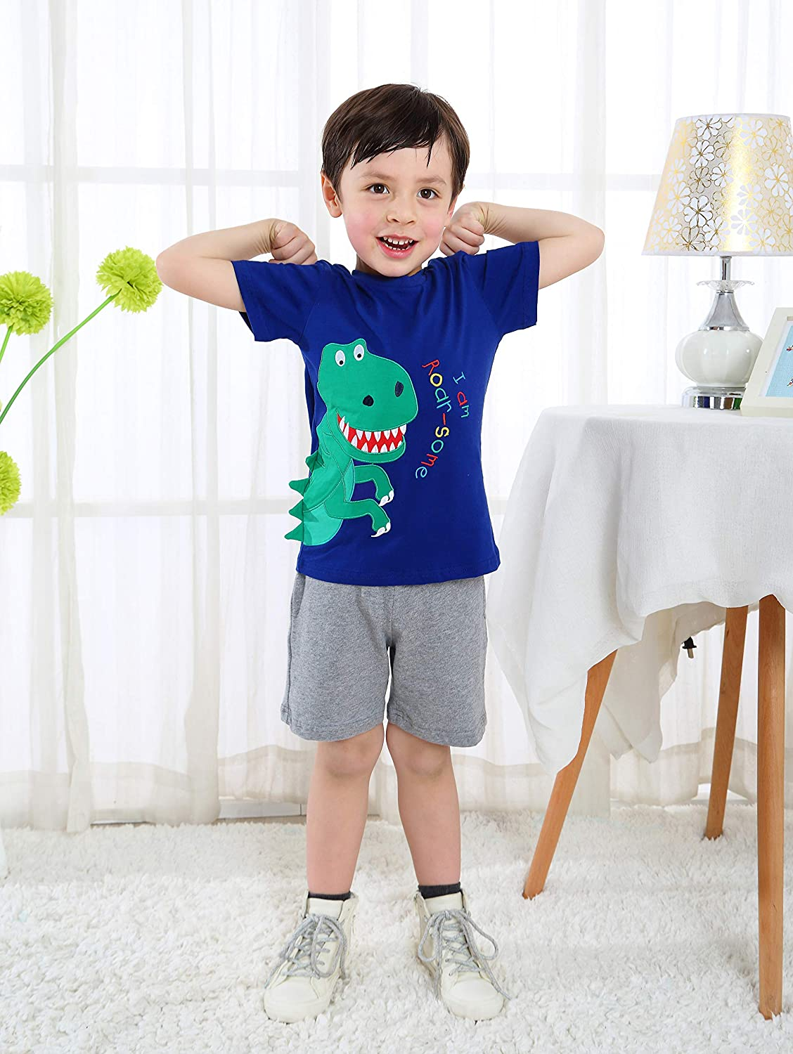 Fiream Boys Cotton Clothing Sets T-Shirt/&Shorts 2 Packs TZset087