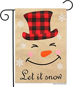 Let is Snow Merry Christmas Garden Flag-12x18 Double Sided Holiday Xmas New Year Smile Snowman Vertical Garden Yard Flags Banner for Lawn House Christmas Outside Decorations