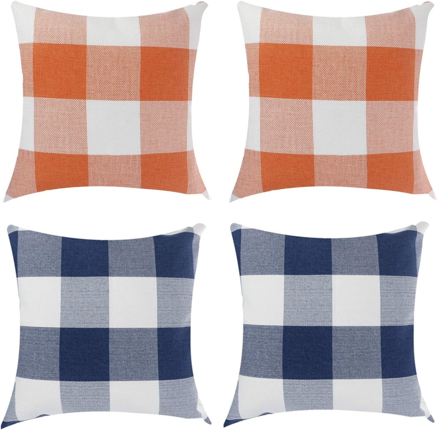Ioffersuper 4Pack Plaid Pillow Covers Classic Navy Blue&Orange&White Buffalo Plaids Throw Pillow Case Zippered Square Cushion Covers for Home Bedroom Car Sofa Decor,45x45CM/18x18Inch