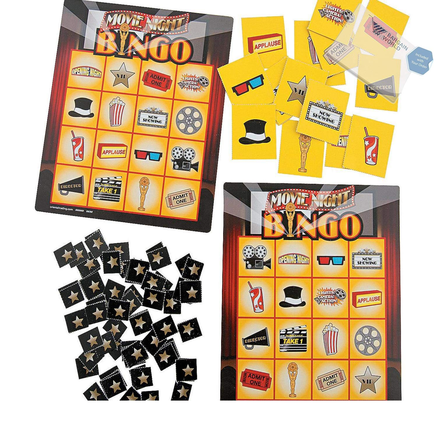 Bargain World Movie Night Bingo Games (With Sticky Notes) by Bargain World