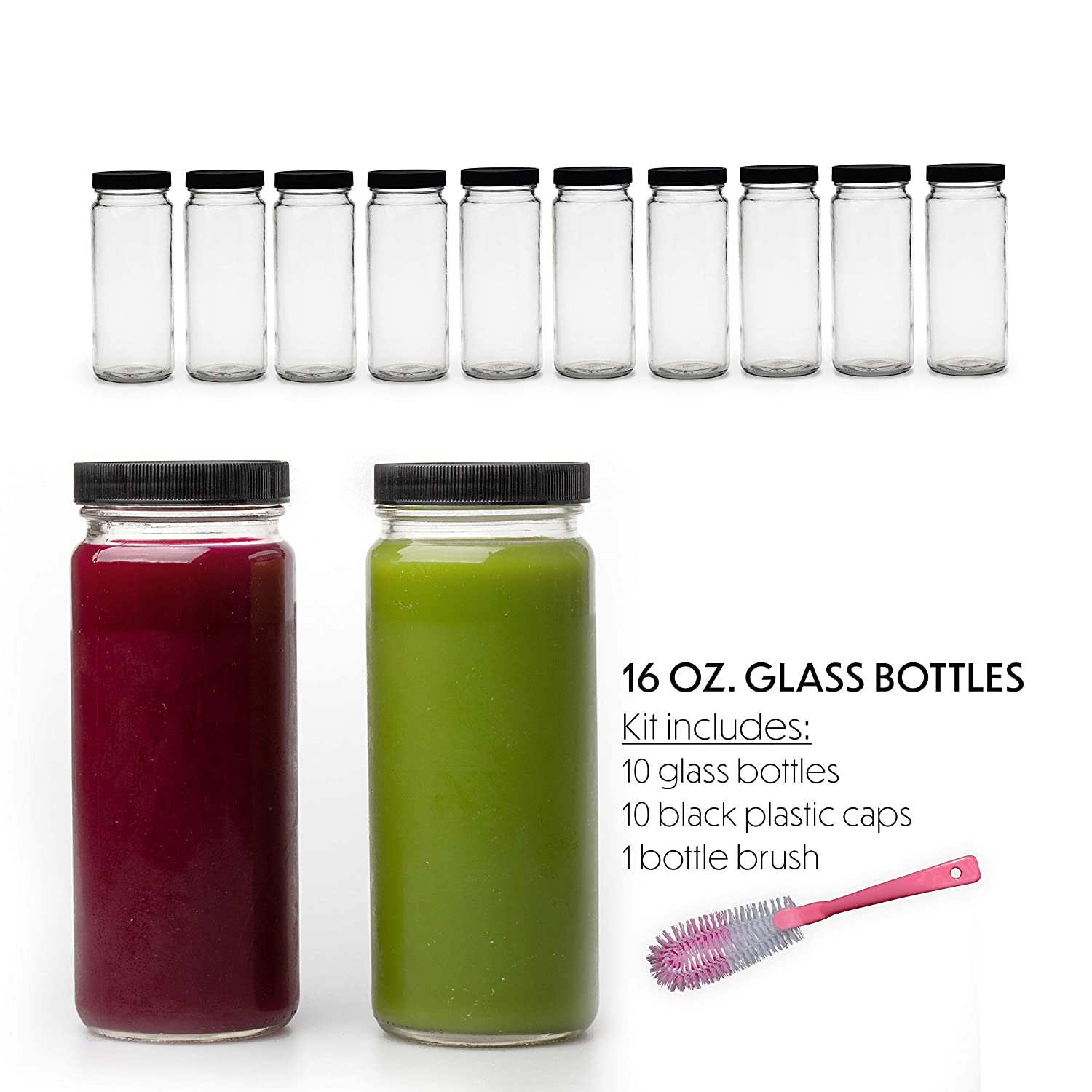 10 Juice Bottles Smoothie Cup Containers Plastic Black Lids 16 OZ Glass Bottles with Caps