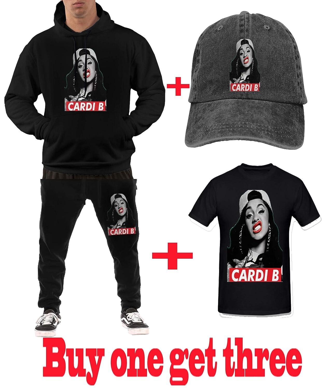 Ougou Cardi B Mens Casual Sweatshirt Hoodies Sweatshirts Black
