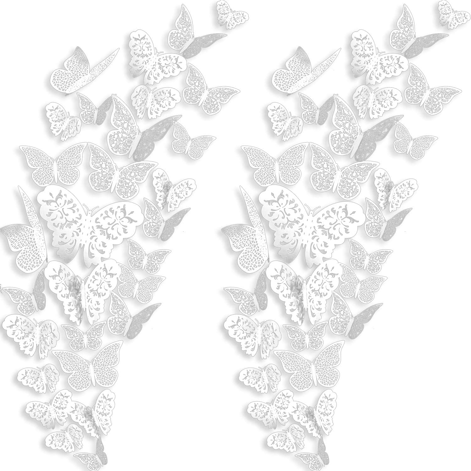 72 Pieces 3D Butterfly Wall Decals Sticker Wall Decal Decor Art Decorations Sticker Set 3 Sizes for Room Home Nursery Classroom Offices Girl Boy Bedroom Bathroom Living Room Decor (White)