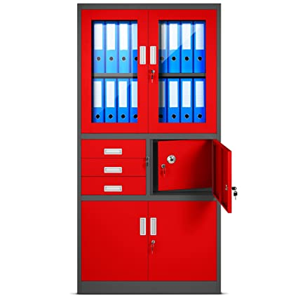 Domator24 Archivador C18S, Mueble de Oficina con Caja de Seguridad, Puertas abatibles de Vidrio