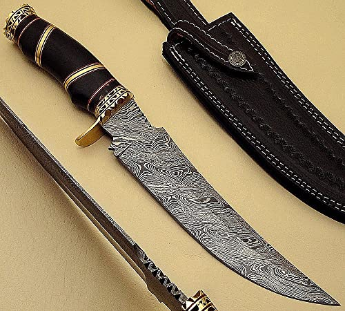AAHP – 38, 13 inches Handmade Damascus Steel Hunting Knife Golden Stripes from All About Handmade Products