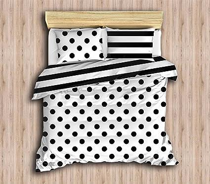 Amazon Com Decomood Stripped Polka Dot Bedding Set Full Queen Size