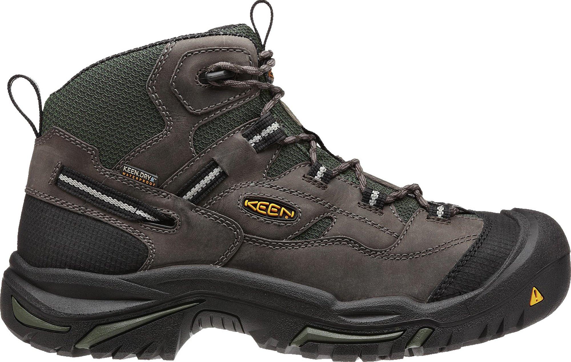 KEEN Utility Men's Braddock Mid Steel Toe Boot,Gargoyle/Forest,10.5 EE US