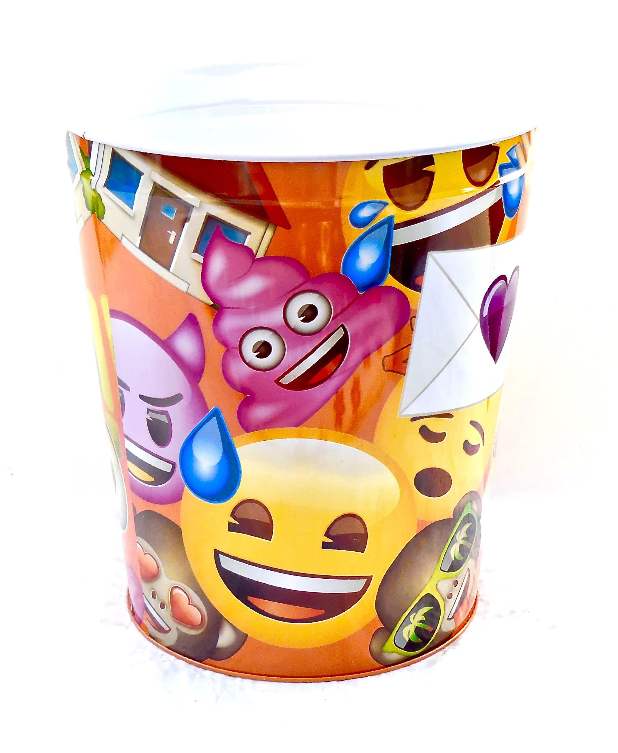 Emoji Wastebasket,Colorful Emoji's,Tin