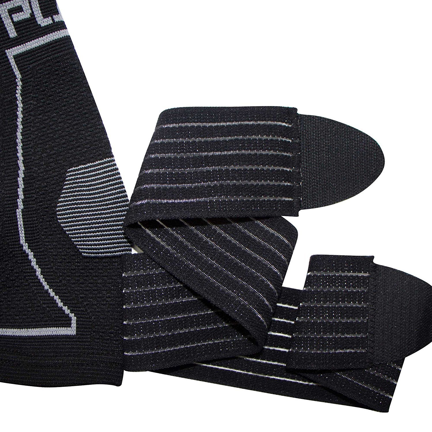 Ankle Support Brace - Compression Sleeve with Adjustable Strap, Great for Running, Ankle Sprains (L/XL, Black - 1 Pair (Two Sleeves)) by Pure Compression (Image #2)