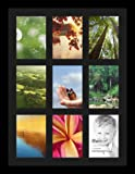 ArtToFrames Collage Photo Frame Single Mat with 9 - 5x7 Openings and Satin Black Frame.