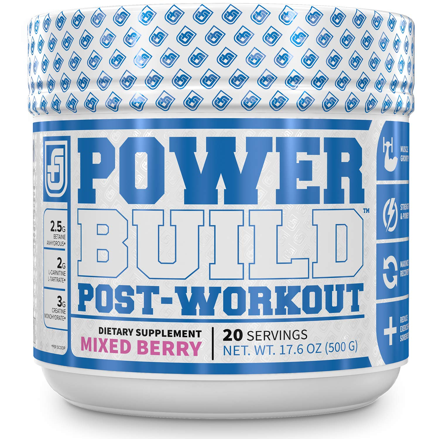 POWERBUILD Clinically-Dosed Post Workout Recovery & Muscle Building Supplement - Boost Muscle Growth, Recovery, & Strength - Creatine, Glutamine, & 5 More Powerful Ingredients - Mixed Berry Blast 17.6 oz by Jacked Factory