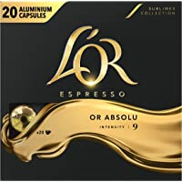 L'Or Espresso Café Or Absolu - Intensité 9 - 100 Capsules en Aluminium Compatibles avec les Machines Nespresso (Lot de 5X20 capsules)