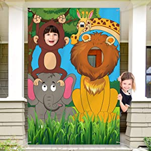 Jungle Animals Decorations Birthday Party Prop, Large Fabric Jungle Backdrop Photo Door Banner Background, Funny Jungle Animals Game Supplies for Jungle Party Decorations, 59 x 39.4 Inch