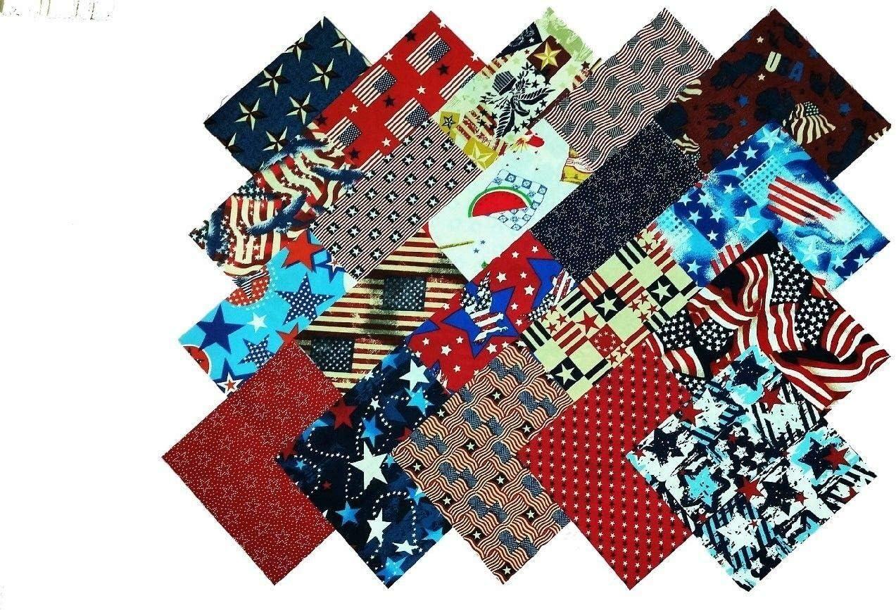 20 10 Patriotic Medley Quilting Squares//Layer Cake 20 Prints